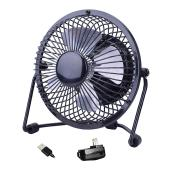 Ventilateur de table, USB, 4'', noir