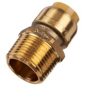 Adapter Push-Fit in Brass- Male - 1/2'' x 3/4''