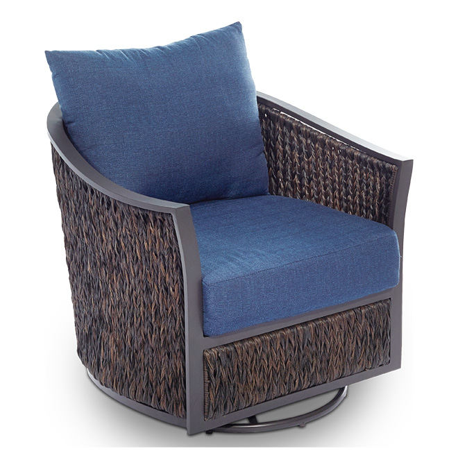 Ellisview Wicker Patio Swivel Glider Chair - Set of 2 - Navy