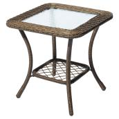 Style Selections Spruce Hills Patio Side Table - 20-in x 20-in - Steel/Glass - Brown