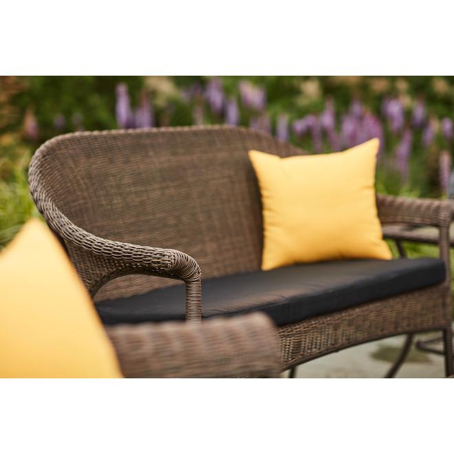 Causeuse pour patio Spruce Hills, osier tissé, brun, 2 places