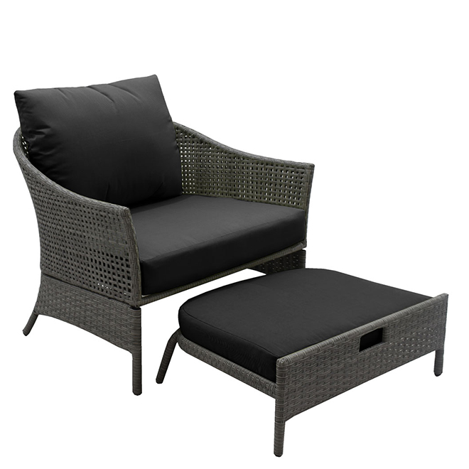 Wicker Patio Chair with Ottoman - Black and Taupe