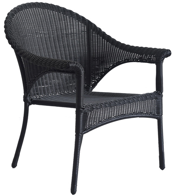 Style Selections Wicker Patio Chair - Stackable - Black LG-8203-01