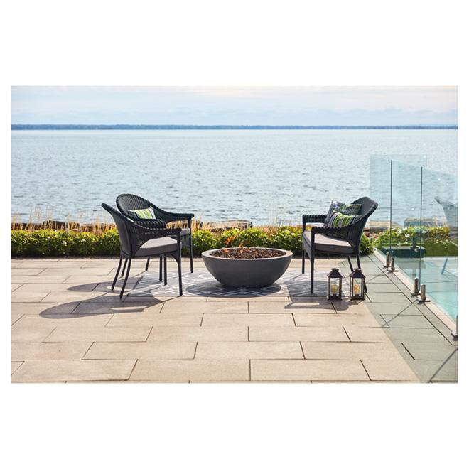 Wicker Patio Chair - Stackable - Black