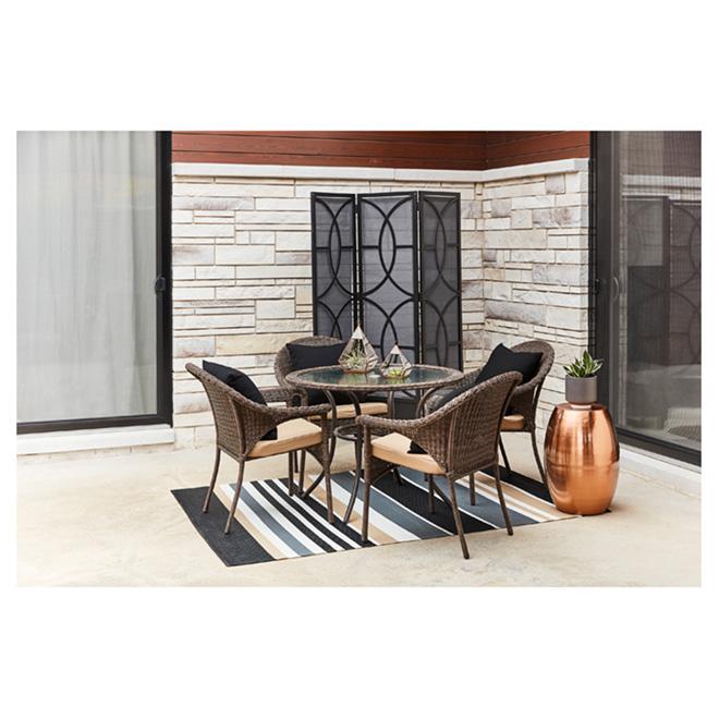 Valleydale Wicker Patio Chair - Stackable - Black