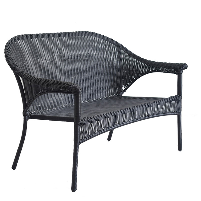 Style Selections Patio Loveseat Woven Wicker Black Lg 8203 Lv Rona