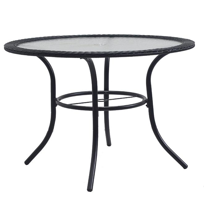 """Round Table - 39.5"""" x 39.5"""" x 29"""" - Steel/Glass/Wicker - Black"""