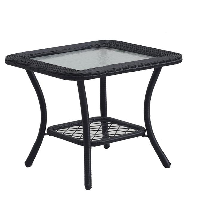 """Table de coin, 20"""" 20"""" x 20"""", acier/résine/verre, noir"""