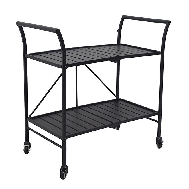 "Foldable Patio Serving Cart - 33"" x 19"" - Steel - Black"
