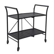 "Pelham Bay Foldable Patio Serving Cart - 33"" x 19"" - Steel - Black"