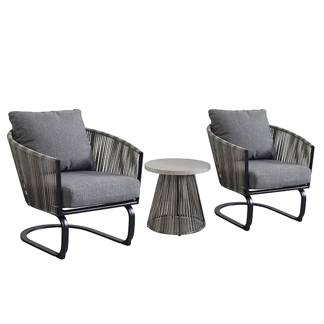 Style Selections Claymore 3-Piece Outdoor Bistro Set - Black and Grey