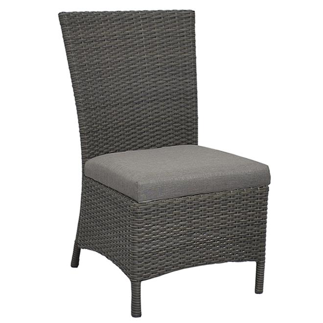 Chaises à dîner d'extérieur sans accoudoirs Campbellvill de Style Selections, tissées et rembourrées, ensemble de 2, gris