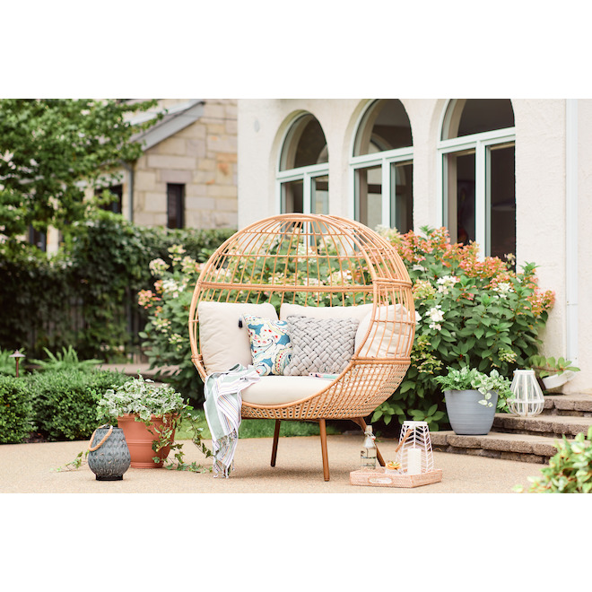 Style Collections Brennfield Wicker Egg Chair - 51.2-in x 45.9-in x 59-in - White and Beige