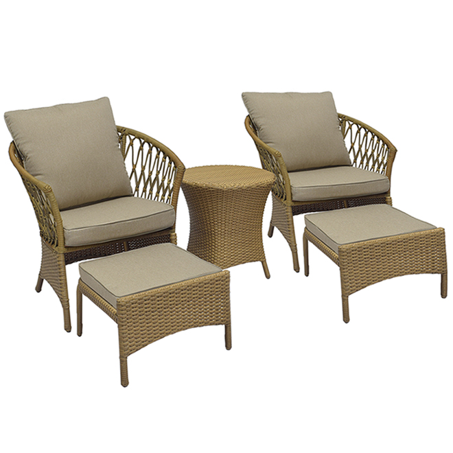 Style Selections Sullivan Conversation Set - Steel and Wicker - 5 Pieces - Grey and Brown