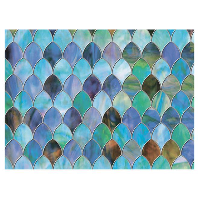 "Static-Cling Window Film-Peacock - 11.5"" x 78"" - Blue/Green"