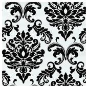 "Wallpaper - Damask Design - 20.5"" x 18' - Black/White"