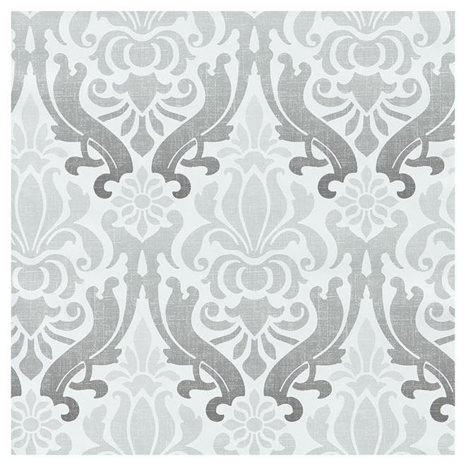 "Wallpaper - Damask Design - 20.5"" x 18' - Grey"