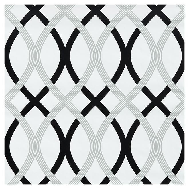 "Wallpaper - Lattice -20.5"" x 18' - Black/Grey"
