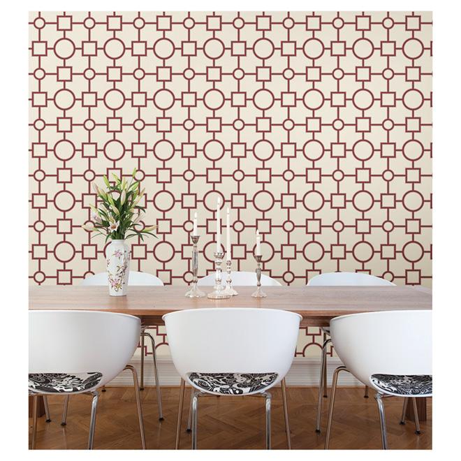 """Wallpaper- Geometric Pattern- 20.5"""" x 33' - Red"""