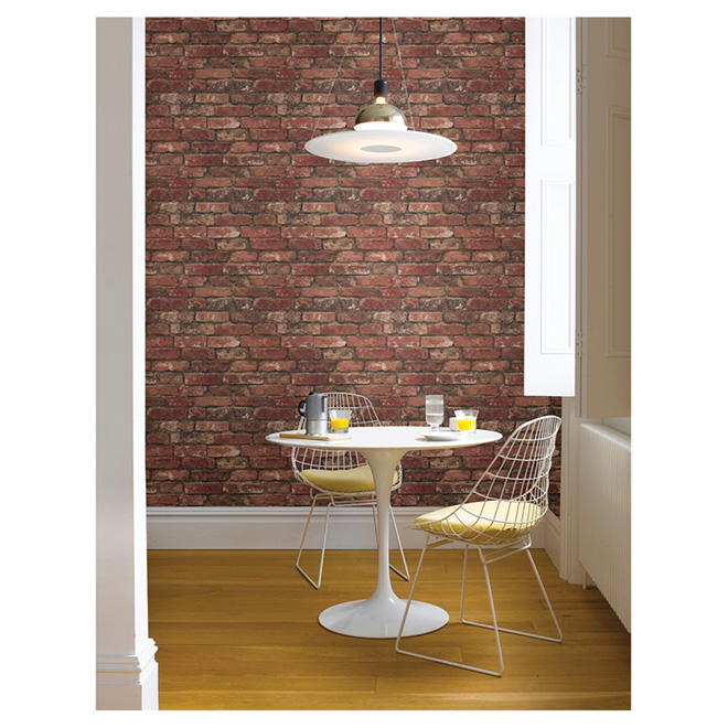 "Wallpaper- Brick Design- 20.5"" x 33' - Red"