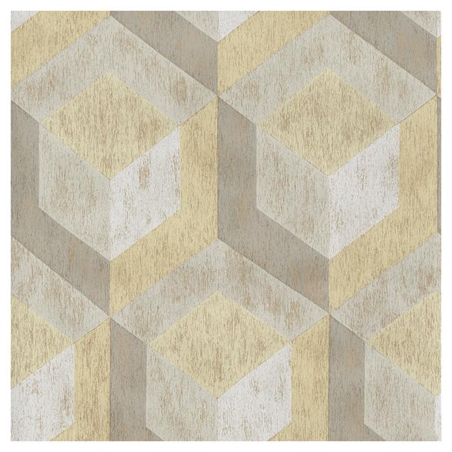 """Wallpaper - Geometrical Pattern - 20.5"""" x 33' - Yellow/Beige"""
