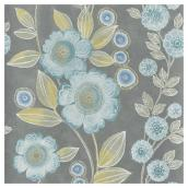 "Papier peint fleuri 20,5"" x 33', bleu/gris"