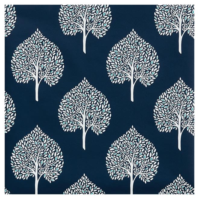 """Wallpaper - Tree Leaves - 20.5""""x33' - Navy Blue/ White"""