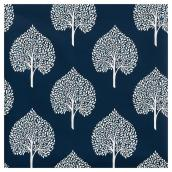 "Wallpaper - Tree Leaves - 20.5""x33' - Navy Blue/ White"