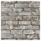 """Papier peint allure de briques, 20,5"""" x 33', taupe"""