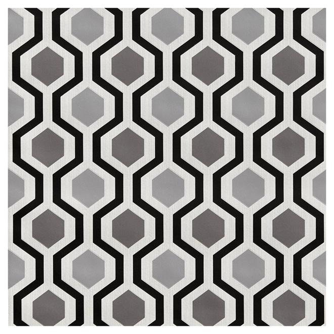 wallpaper geometrical pattern 205 x 33 blackwhite