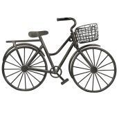 Vélo et panier décoration murale, métal, 31 1/2'', noir