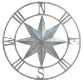 Décoration murale boussole, métal, 24'', clair