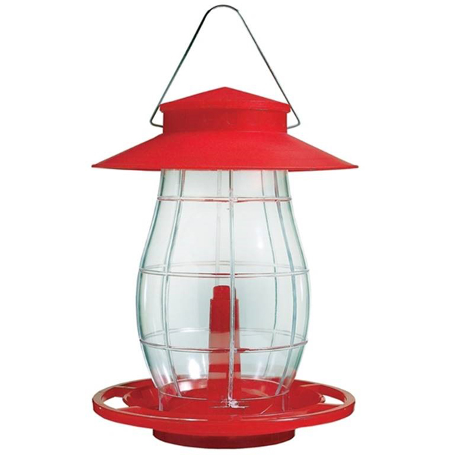 Lantern Bird Feeder - Red and Clear Plastic