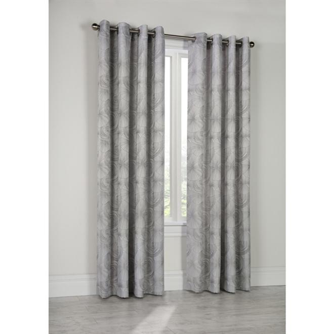 Elise Geometric Grommet Curtain Panel - 52-in x 84-in - Silver Grey
