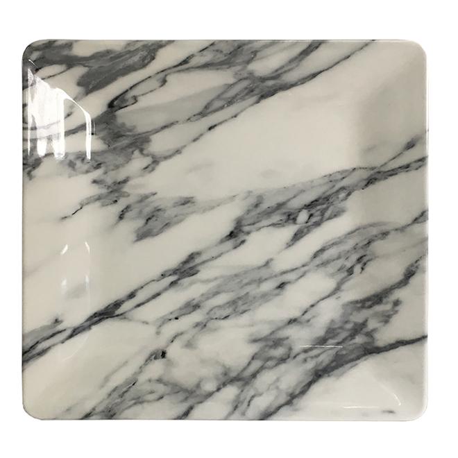 """Marble Square Melamine Side Plate - 8 1/2"""" - Black/White"""