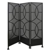 "Allen + Roth Folding Privacy Screen - 59"" x 72"" - Steel - Black/Grey"