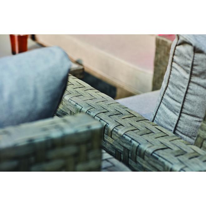Allen + Roth Dartford Patio Conversation Armchairs - Aluminum and Wicker - Grey - 2 Pieces