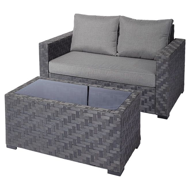 Dartford Patio Loveseat And Table Conversation Set   Black/Grey