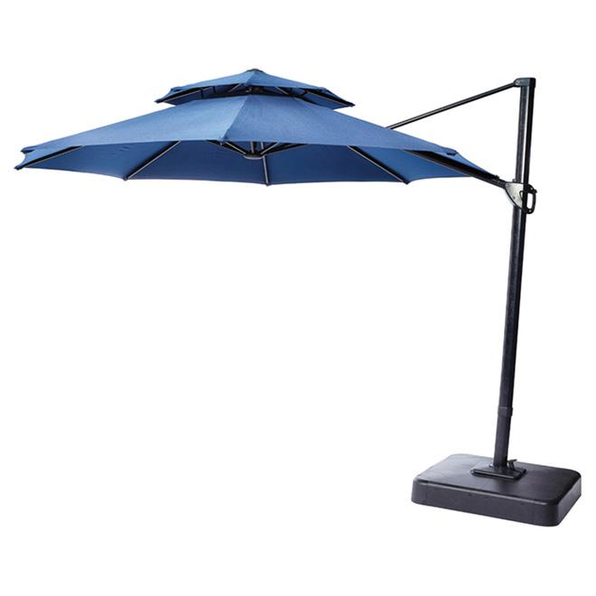 Parasol de patio excentré, inclinable, 11', bleu