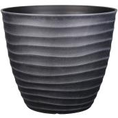 Style Selections Pot with Wavy Design - 15.3-in - Polypropylene - Grey