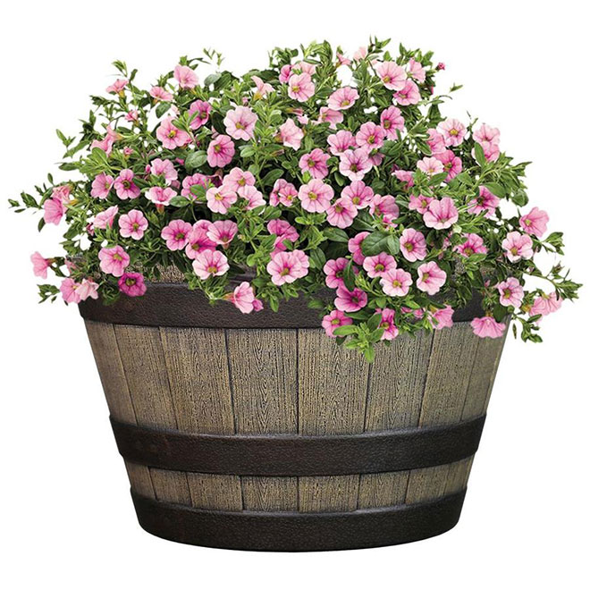 """Style Selections Flower Barrel - Resin - Garden Party - 14.6"""" - Brown"""