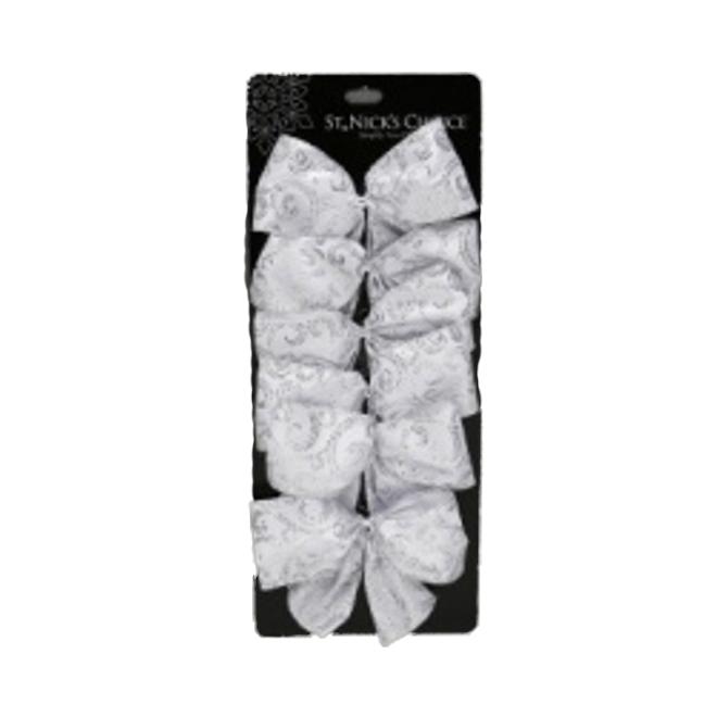 """Mini-boucles de Noël, polyester, 5"""", argent, 6/pqt"""