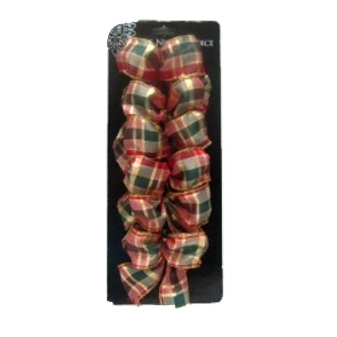 """Mini-boucles de Noël, polyester, 5"""", or/rouge/vert, 6/pqt"""