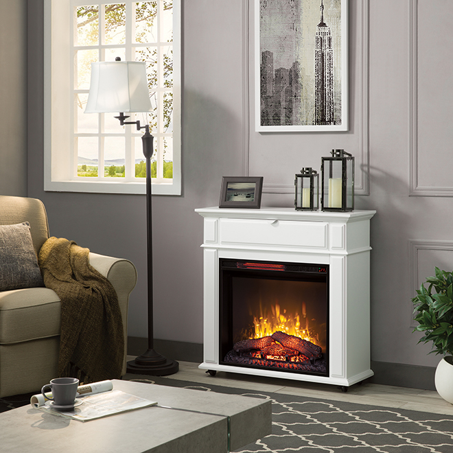 Infrared Electric Fireplace - White - 1500 W
