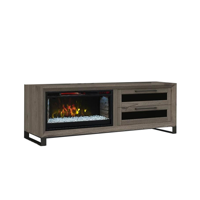 "Electric Fireplace TV Unit - 64"" - Grey Oak"