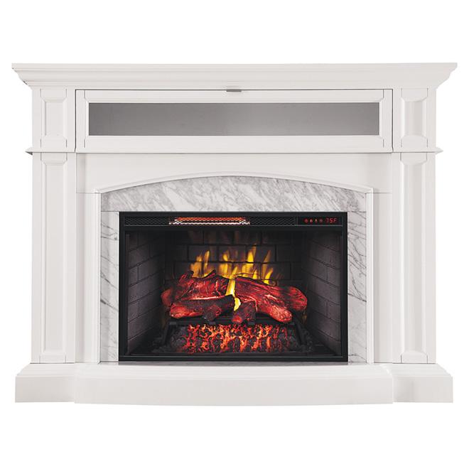 Foyer électrique infrarouge, blanc marbré. 1500 W