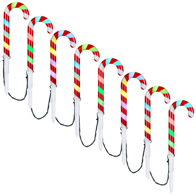 Gemmy Candy Cane Lights - Multicolour - 8/Pack