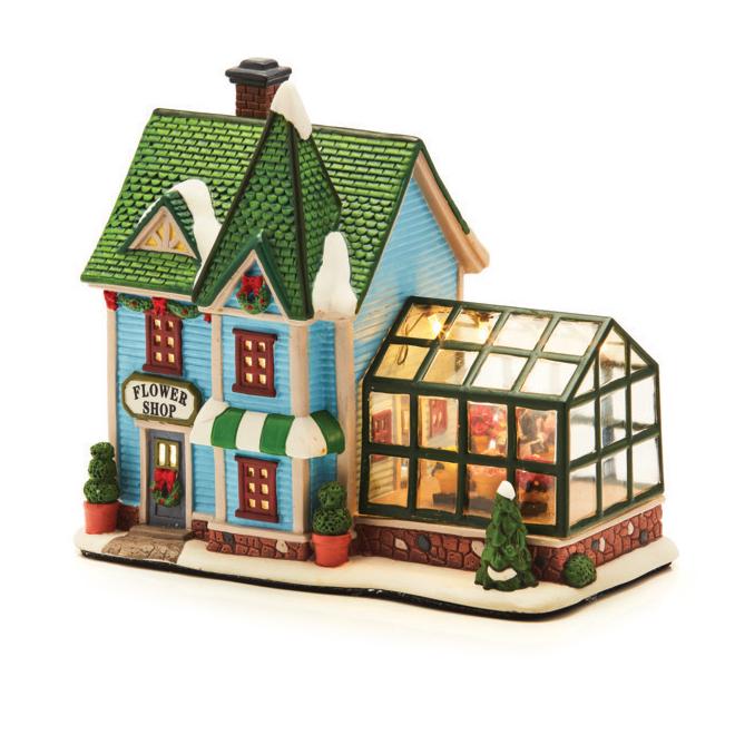 Boutique du fleuriste pour village de Noël, céramique