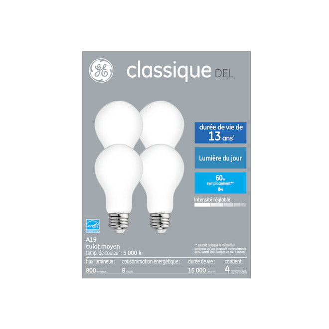 GE LED Bulb - A19 - 8.0 W - Dimmable - Day Light - 4/Pack