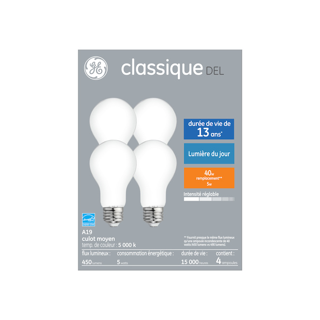 GE LED Bulb - A19 - 5.0 W - Dimmable - Day Light - 4/Pack